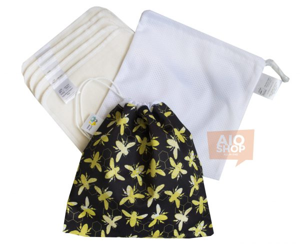 >Mini Worek PUL + 5ciopak myjek flanelowych (wzór Bee Mine)